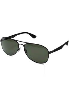 Ray-Ban Men's Metal Man Polarized Aviator Sunglasses Black Frame Polarized Green Classic Lenses