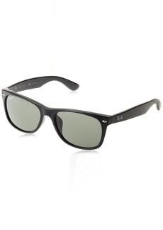 Ray-Ban Men's New Wayfarer (f) Polarized Square Sunglasses BLACK 57.7 mm