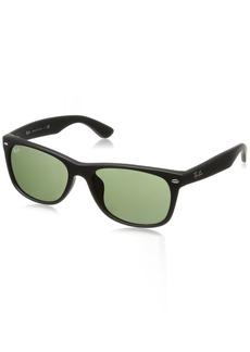 Ray-Ban Men's New Wayfarer (f) Square Sunglasses BLACK RUBBER 57.7 mm