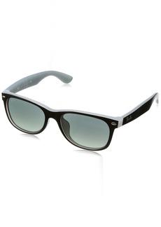 Ray-Ban Men's New Wayfarer (f) Square Sunglasses MATTE BLACK ON OPAL ICE 54.0 mm