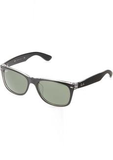 Ray-Ban Men's New Wayfarer (f) Square Sunglasses TOP BLACK ON TRANSPARENT 57.7 mm