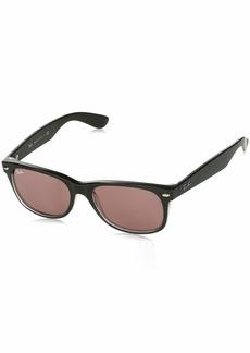 Ray-Ban Men's New Wayfarer Non-Polarized Iridium Square Sunglasses BLACK/TRASPARENT 51.0 mm