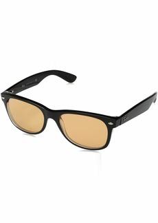 Ray-Ban Men's New Wayfarer Non-Polarized Iridium Square Sunglasses BLACK/TRASPARENT 54.0 mm