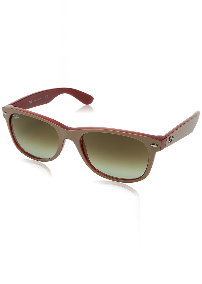 Ray-Ban Men's New Wayfarer Square Sunglasses MATTE BEIGE ON OPAL RED