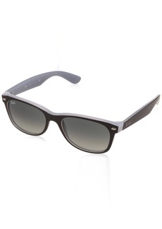 Ray-Ban RB2132 New Wayfarer Sunglasses Matte Black On Opal Ice/Grey Gradient