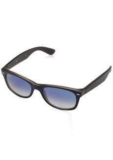 Ray-Ban Men's New Wayfarer Square Sunglasses Matte Blue ON Opal Brown
