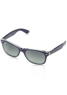 Ray-Ban Men's New Wayfarer Square Sunglasses TOP Matte Blue ON TRANSP