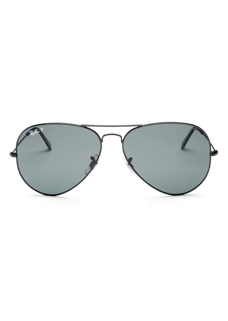 Ray-Ban Unisex Polarized Brow Bar Aviator Sunglasses, 62mm