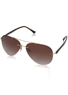 Ray-Ban Men's Titanium Man Sunglass Aviator BRUSHED GOLD