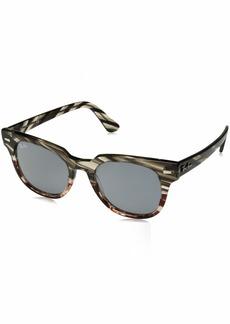 Ray-Ban Meteor Non-Polarized Iridium Square Sunglasses grey gradient brown stripe 49.8 mm