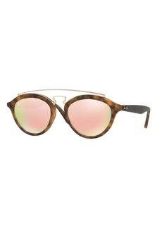 Ray-Ban Mirrored Brow-Bar Sunglasses