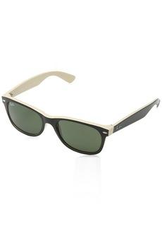 Ray-Ban New Wayfarer RB2132 Sunglasses-875 Black On Beige/Crystal Green-55mm