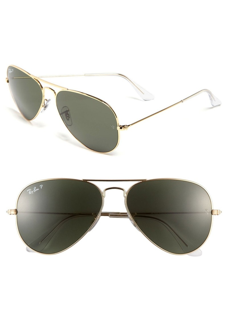 Ray-Ban Original 58mm Polarized Aviator Sunglasses