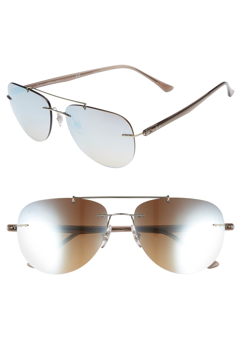 Ray-Ban Phantos 57mm Mirrored Rimless Aviator Sunglasses