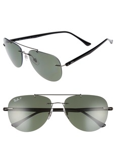 Ray-Ban Phantos 57mm Polarized Rimless Aviator Sunglasses