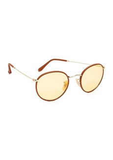 Ray-Ban Phantos Round Leather Photochromic Sunglasses