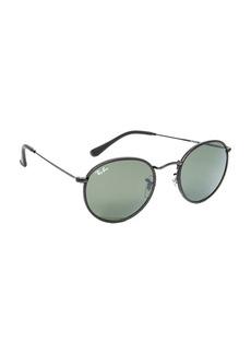 Ray-Ban Phantos Round Leather Sunglasses