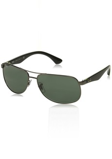 Ray-Ban RB3502 61mm Gunmetal Black Green w/ Green Classic G-15 Sunglasses