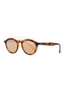 Ray-Ban Round Mirrored Brow-Bar Sunglasses