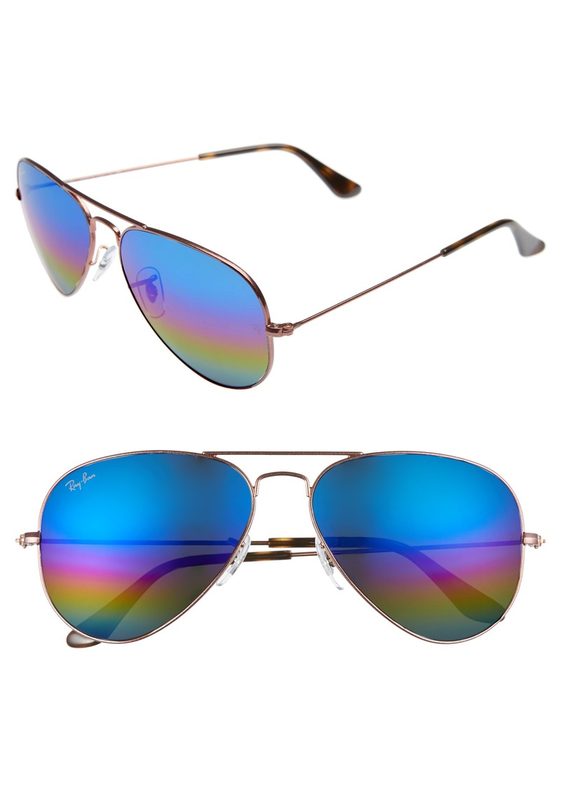 Ray-Ban Standard Icons 58mm Mirrored Rainbow Aviator Sunglasses
