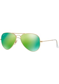 Ray-Ban Polarized Original Aviator Mirrored Sunglasses, RB3025 58