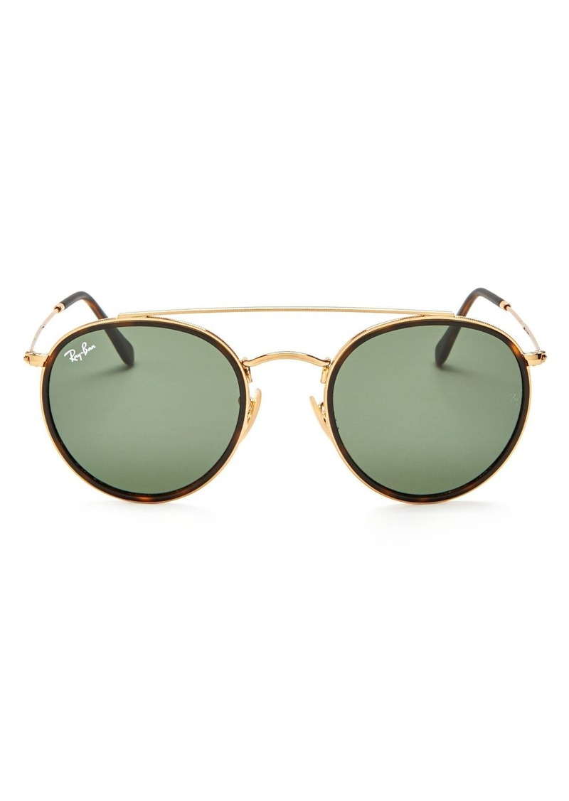 Ray-Ban Unisex Icons Brow Bar Round Sunglasses, 51mm