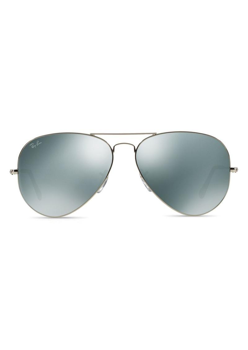 Ray-Ban Unisex Mirrored Aviator Sunglasses, 62mm