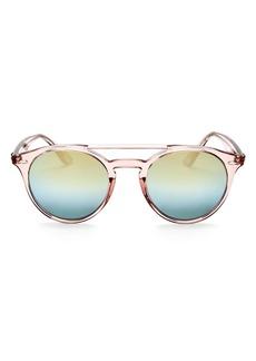 Ray-Ban Unisex Mirrored Brow Bar Round Sunglasses, 51mm