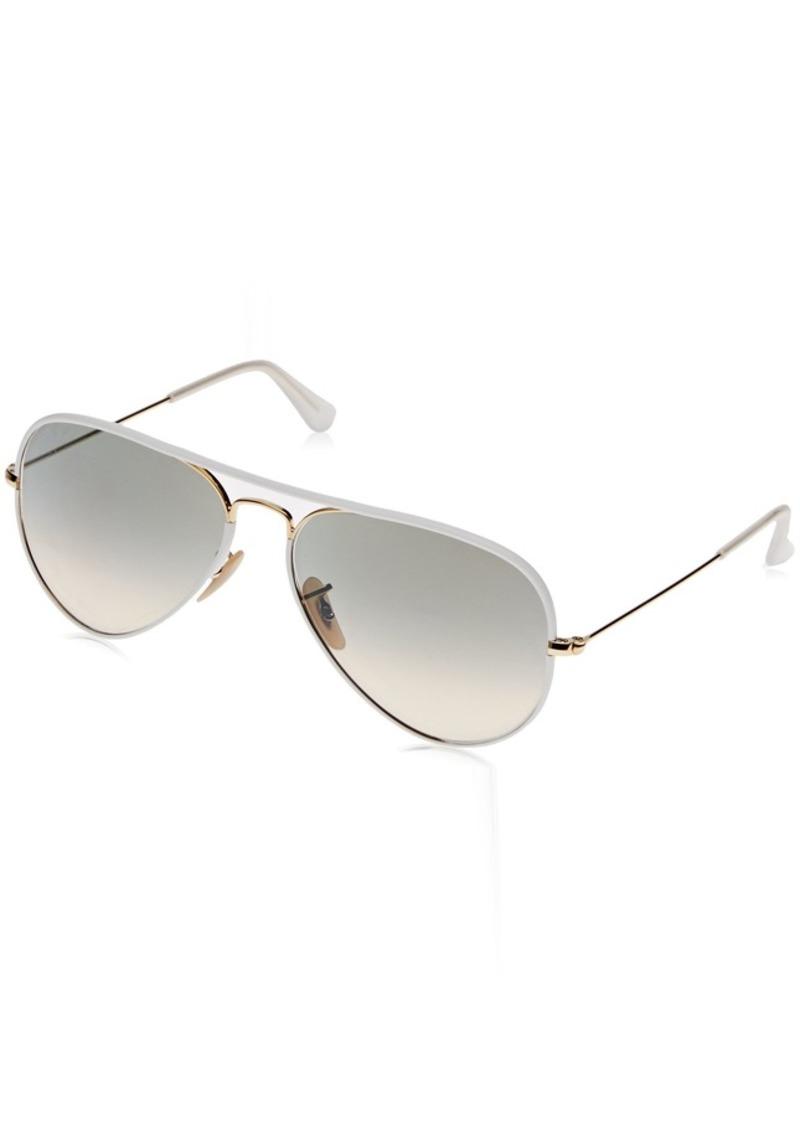 Ray-Ban Unisex RB3025JM - 146/32 Aviator Full Color Sunglasses White/ Gold 58mm