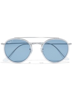 Ray-ban Woman Round-frame Silver-tone Sunglasses Silver
