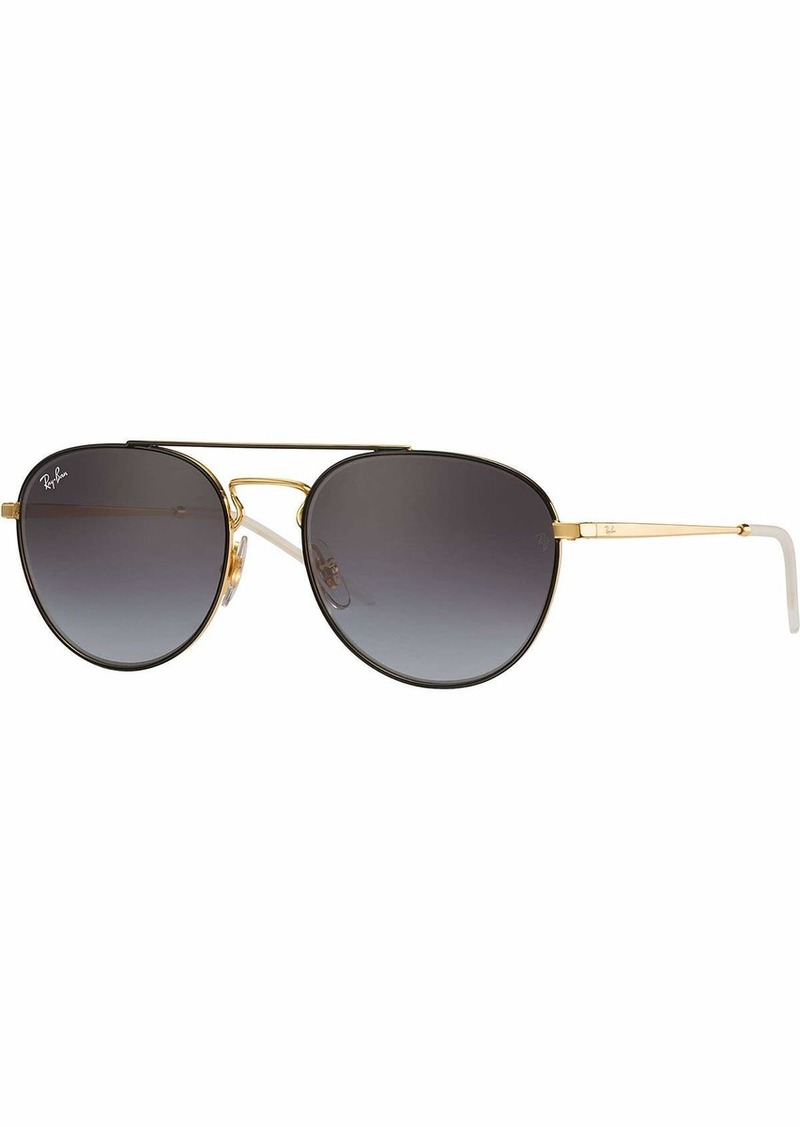 Ray-Ban Women's Metal Woman Sunglass Square Gold TOP ON Brown