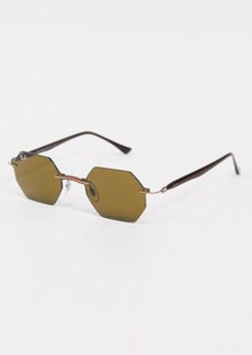 Ray-Ban Rayban rimless slim hexagonal sunglasses in brown