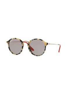 Ray-Ban Round Plastic & Metal Polarized Sunglasses