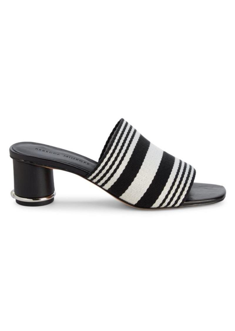 Rebecca Minkoff Aceline Striped Cylinder-Heel Mule Sandals