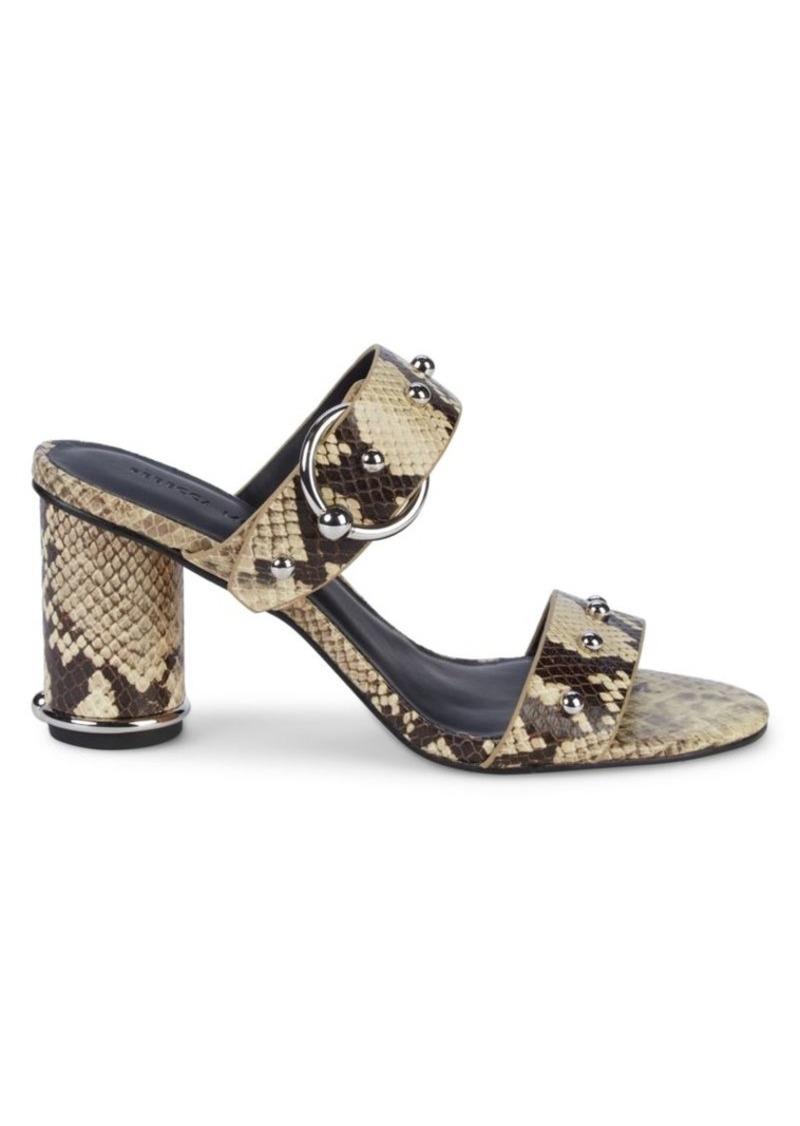 Rebecca Minkoff Amalthea Embossed-Snakeskin Leather Block-Heel Slides