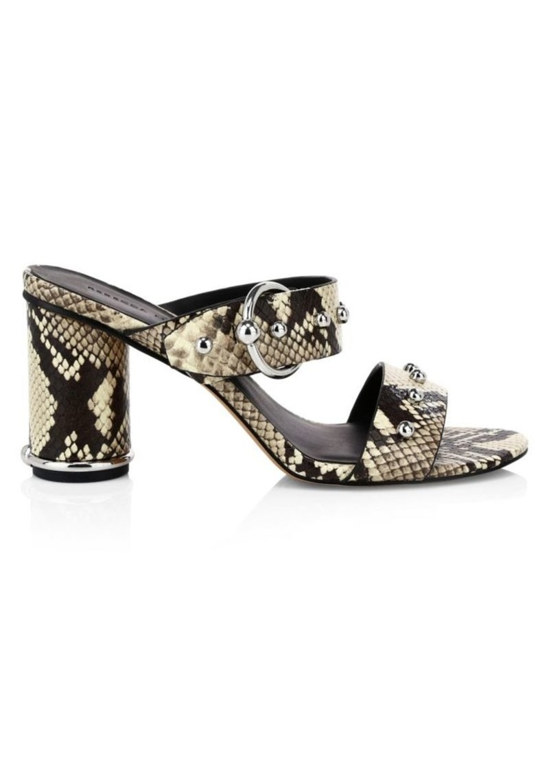 Rebecca Minkoff Amalthea Too Studded Snake-Embossed Leather Sandals