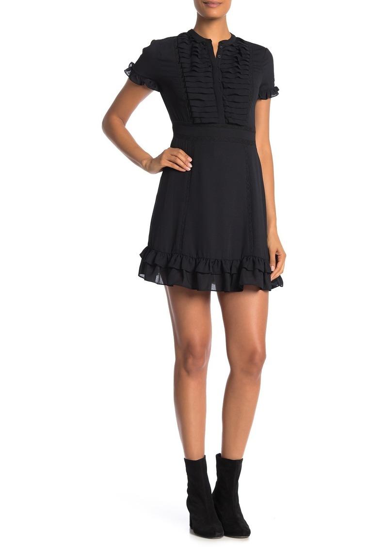 Rebecca Minkoff Ariel Pleated Ruffle Trim Dress