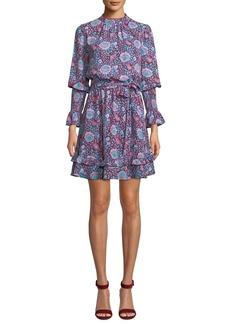 Rebecca Minkoff Belinda Floral High-Neck Ruffle Mini Dress