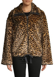 Rebecca Minkoff Bridit Leopard-Print Faux Fur Jacket