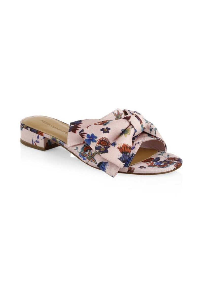 rebecca minkoff calista floral bow slides shoes