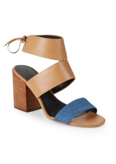 Rebecca Minkoff Christy Leather Block Heel Sandals