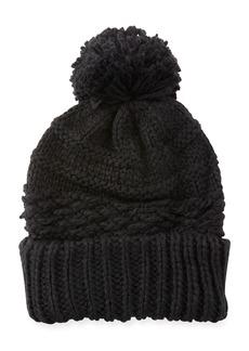 Rebecca Minkoff Chunky Knit Beanie Hat w/ Pompom Top