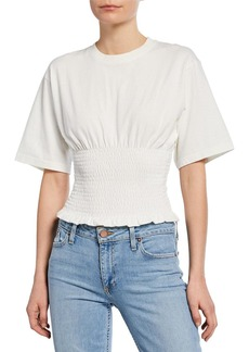 Rebecca Minkoff Clio Smocked Short-Sleeve Crop Top