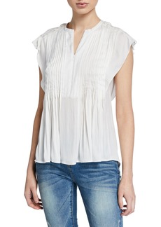 Rebecca Minkoff Deandra Cap-Sleeve Pleated Top