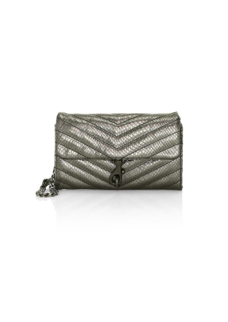 Rebecca Minkoff Edie Quilted Metallic Leather Wallet-On-Chain