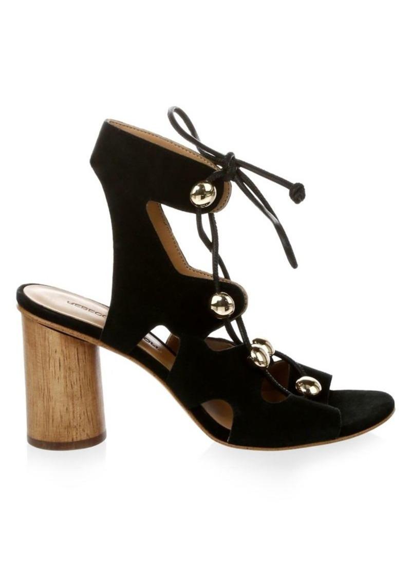 Rebecca Minkoff Embellished Suede Lace-Up Sandals