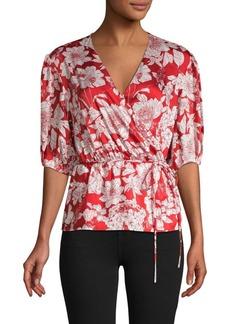 Rebecca Minkoff Floral-Print Belted Top