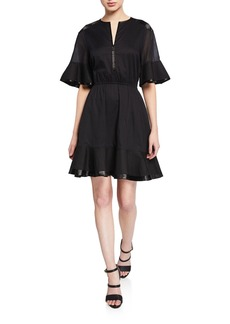 Rebecca Minkoff Frankie Zip-Front Flounce Short Dress