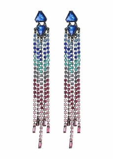 Rebecca Minkoff Gemma Slim Crystal Fringe Earrings