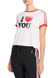 Rebecca Minkoff I Heart You Heather Cropped Graphic Tee